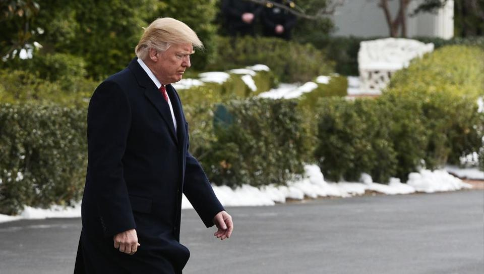 US President Donald Trump makes his way to board Marine One from the South Lawn of the White House on March 15 in Washington, DC.