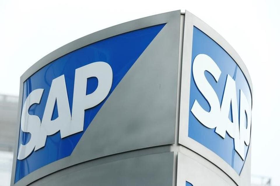 SAP logo at SAP headquarters in Walldorf, Germany.