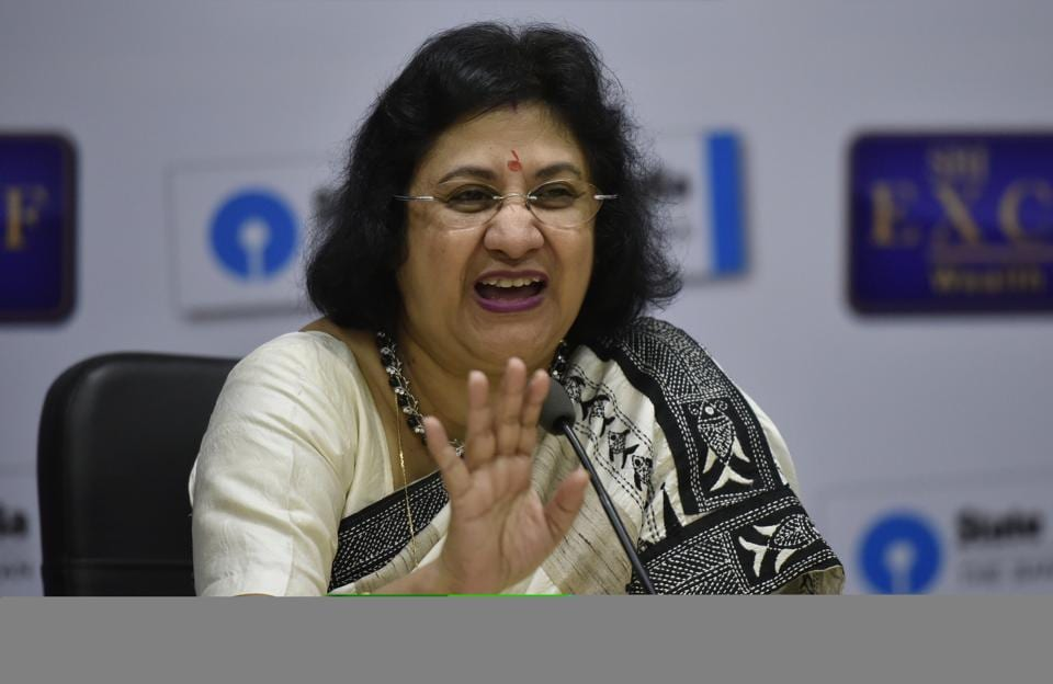 SBI Chairman Arundhati Bhattacharya during the Press Conference at SBI Parliament Street in New Delhi.