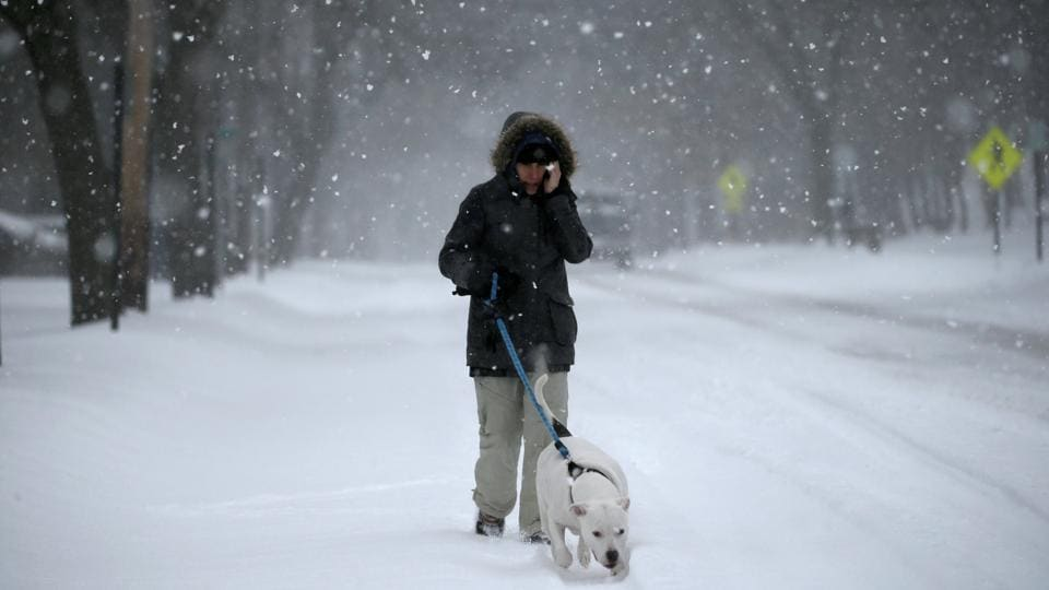 A woman walks her dog during a snowstorm along a snow covered Broadway in the village of Nyack, a northern suburb of New York City, U.S. (Mike Segar/REUTERS)