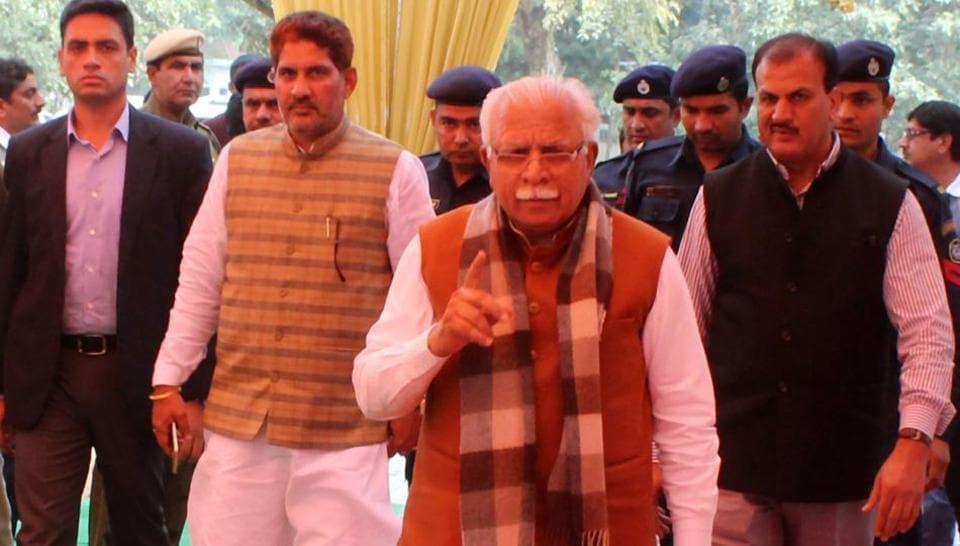 Haryana chief minister Manohar Lal Khattar arrives for a BJP meeting.