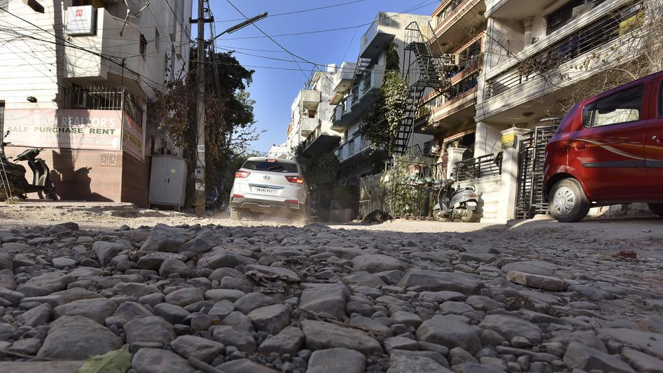 Residents of Sushant Lok said their society roads have not been repaired in seven years.
