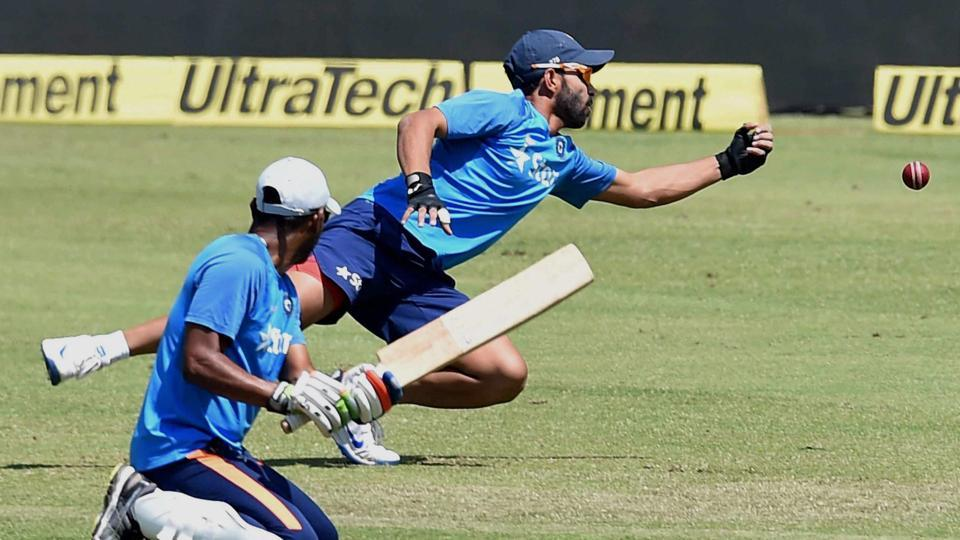 Close-in fielding was another area where India cricket team worked on during training session in Ranchi on Wednesday. Ajinkya Rahane, a regular at the slips, was given a thorough workout ahead of the third Test vs Australia cricket team. (PTI)