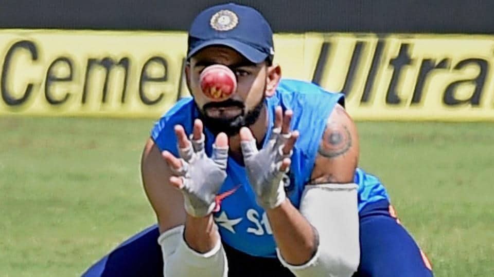 India cricket team skipper Virat Kohli during fielding drills a day before the third Test match against Australia cricket team in Ranchi on Wednesday.