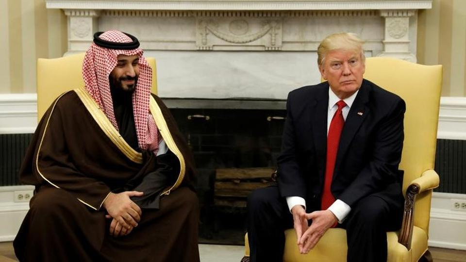 US President Donald Trump meets with Saudi Deputy Crown Prince and Minister of Defense Mohammed bin Salman in the Oval Office of the White House in Washington.