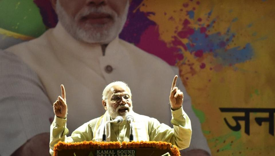 """Prime Minister Narendra Modi at the BJP headquarters.  During his thanks-giving address to party workers on Sunday, a day after the verdict, he made another pledge – building a """"new India"""" by 2022."""
