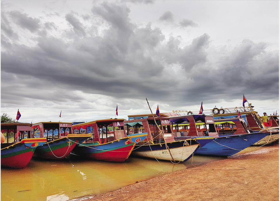 The boats that take you to the floating village in Siem Reap