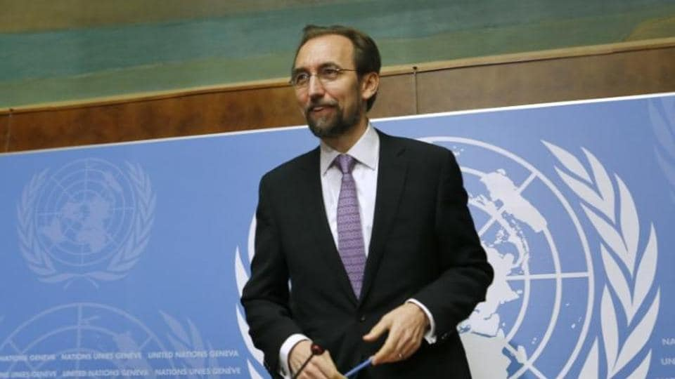 Jordan's Prince Zeid Ra'ad Zeid al-Hussein, U.N. High Commissioner for Human Rights gestures after a news conference at the United Nations European headquarters in Geneva October 16, 2014.
