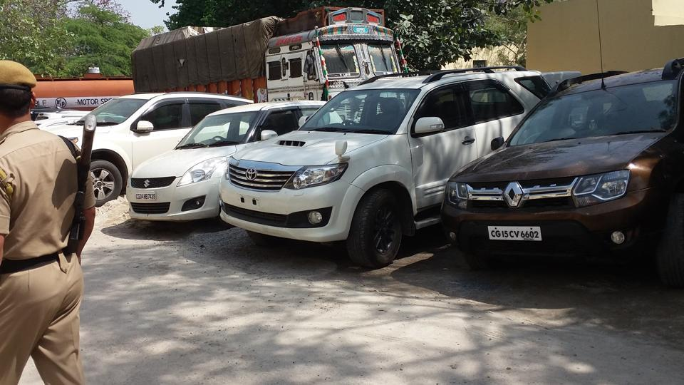 Some of the SUVs which were seized by the police. The gang of thieves used to sell the stolen cars in UP.