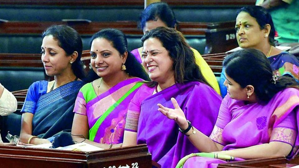 Women MPs Supriya Sule, K. Kavita, Meenakshi Lekhi and Pankaja Munde during the valedictory session of the National Conference of Women Legislators, at the Central Hall of Parliament in New Delhi on Sunday.