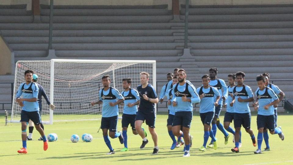 Indian football team during a practice session ahead of the Asia Cup qualifiers.