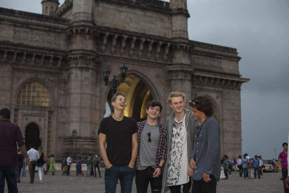 The Vamps against the iconic Gateway of India backdrop
