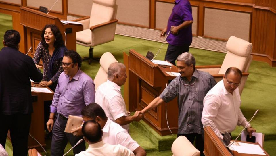 Goa chief minister Manohar Parrikar in the assembly ahead of the floor test. The BJP-led coalition won the trust vote with the support of 22 MLAs.