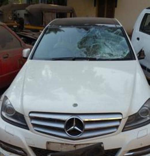 The Mercedes Benz involved in the accident at Santacruz.