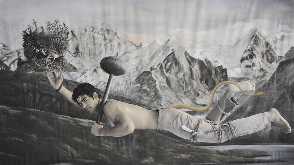 New Myths Second Incarnation, the First; by Waswo X. Waswo (with Rajesh Soni); hand-coloured black and white digital print; 2011