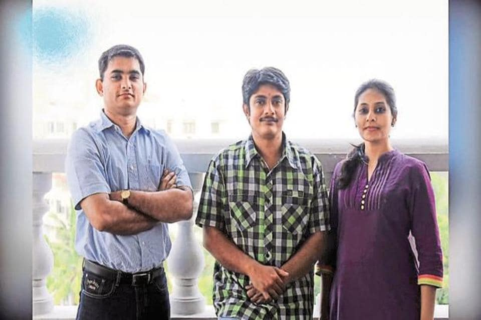 File photo of Stayzilla co-founders Sachit Singhi, Yogendra Vasupal and Rupal Yogendra.
