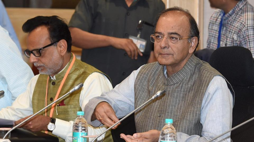 Finance minister Arun Jaitley at the GST Council Meeting at Vigyan Bhawan in New Delhi on Thursday.