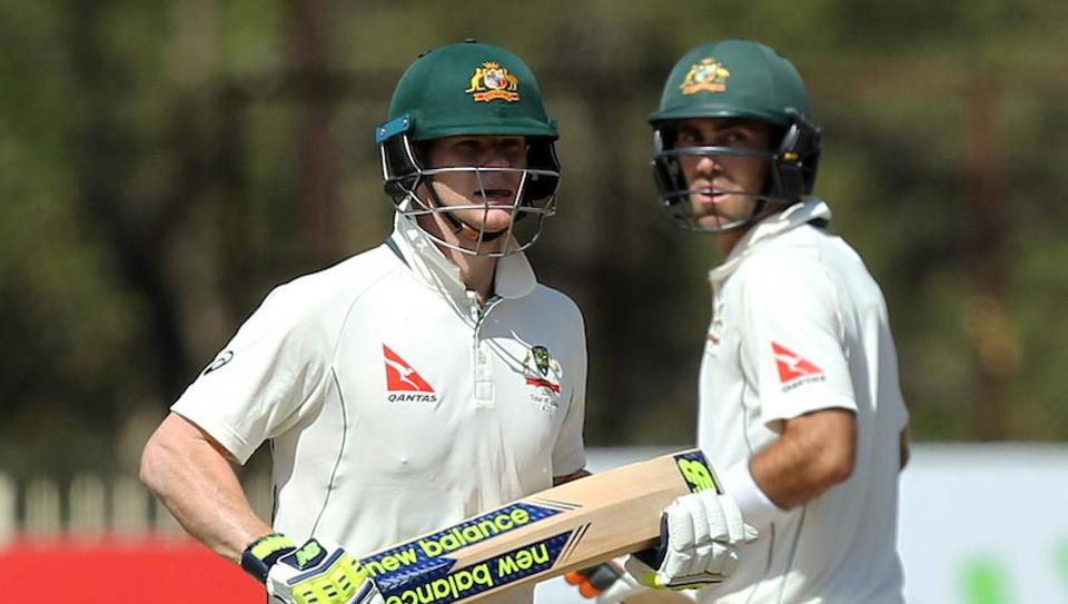 Steve Smith (left) and Glenn Maxwell on Day 1 of third Test between India and Australia in Ranchi on Thursday. Get full cricket score of India vs Australia here.