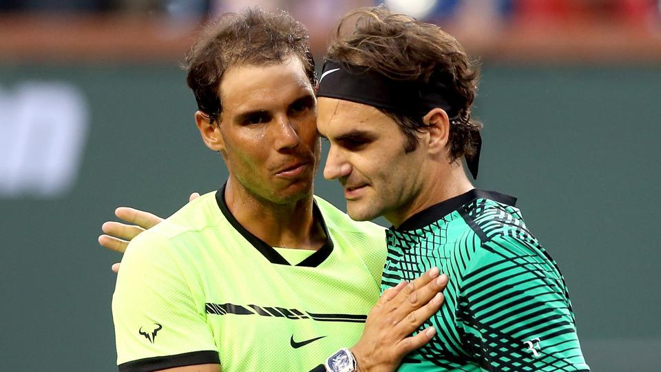 Rafael Nadal congratulates Roger Federer after their Indian Well Mastesr encounter.