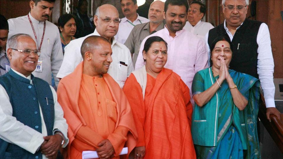 External Affairs Minister Sushma Swaraj with Union minister Uma Bharti, Yogi Adityanath and other BJP MPs at Parliament House in New Delhi on Wednesday during the budget session.