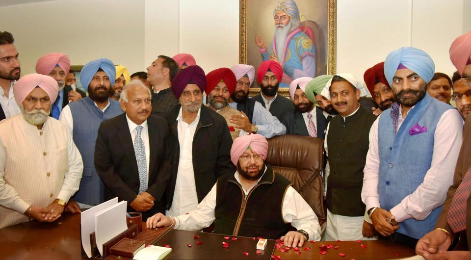 Chief minister Captain Amarinder Singh after assuming the charge of office in Chandigarh on Thursday. (PTI)