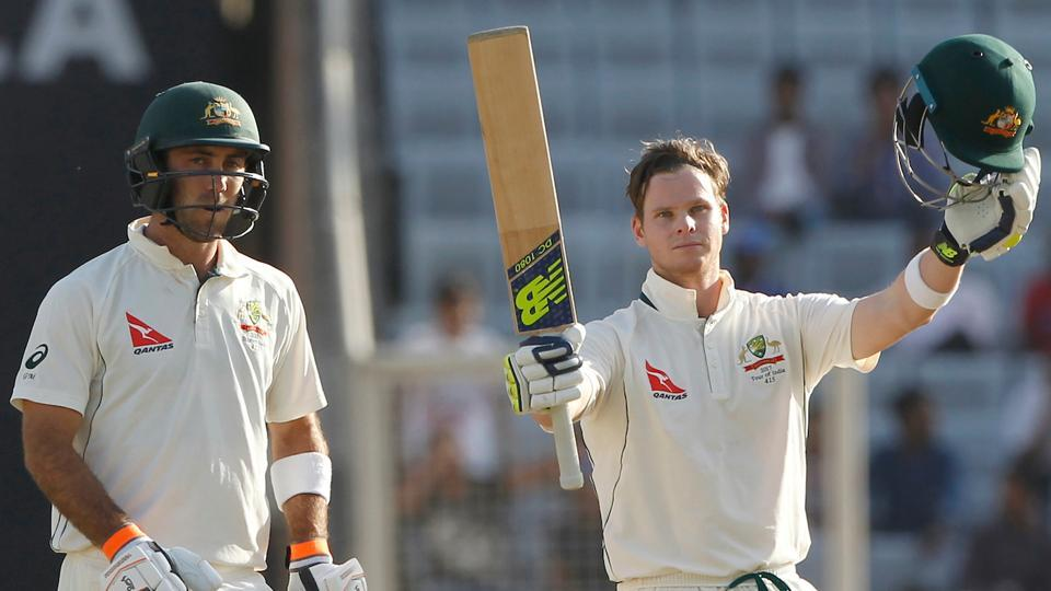 Steve Smith of Australia celebrates with Glenn Maxwell (L)after reaching his century against India on Day 1 of the Ranchi Test. (BCCI)