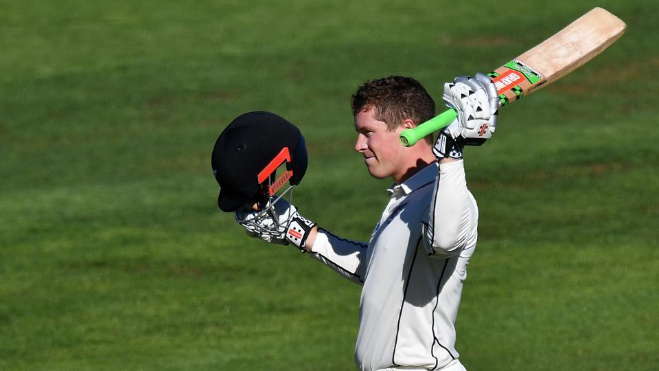 Henry Nicholls celebrates his century on Day 1 of second Test against South Africa.