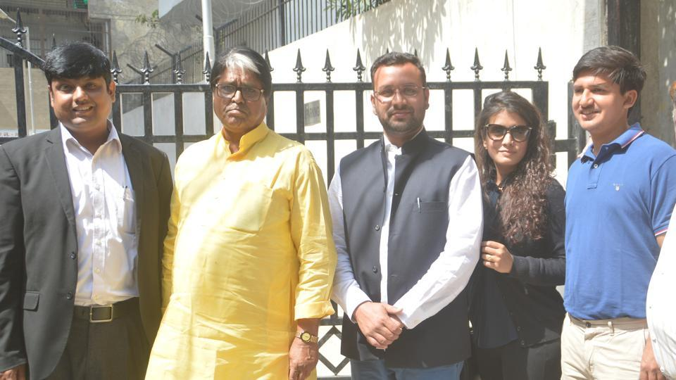 Aman Mani Tripathi (centre), now Nautanwa MLA, is out on bail after he was arrested in connection with his wife's death.