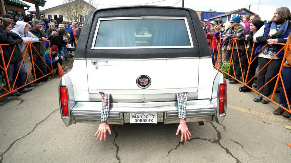 Arms hang out of the back of a hearse during the hearse parade in the annual 'Frozen Dead Guy Days' festival inspired by a frozen corpse, in Nederland, Colorado.   A Small town of under 1,500 people throws a festival every year to honour the frozen corpse of Bredo Morstoel, whose corpse resides in a dry-ice-packed shed in the town.  (Rick Wilking / REUTERS)