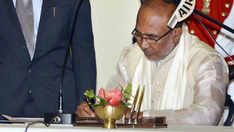N Biren Singh after taking the oath of office during his swearing-in ceremony in Imphal.