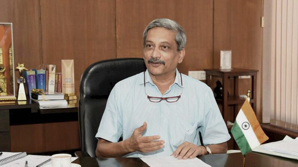 Goa chief minister Manohar Parrikar assuming charge as chief minister in Panaji on Wednesday.