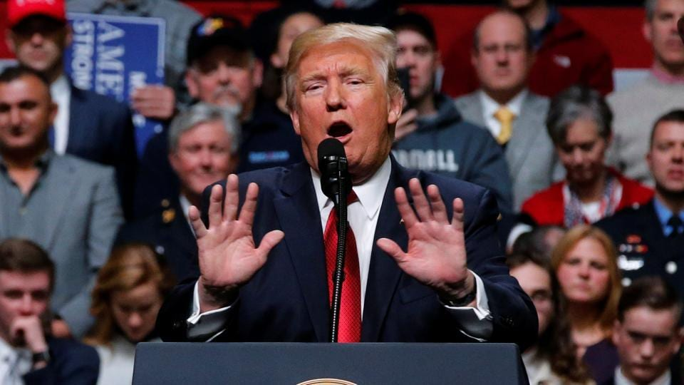 US President Donald Trump holds a rally at Municipal Auditorium in Nashville, Tennessee, US.