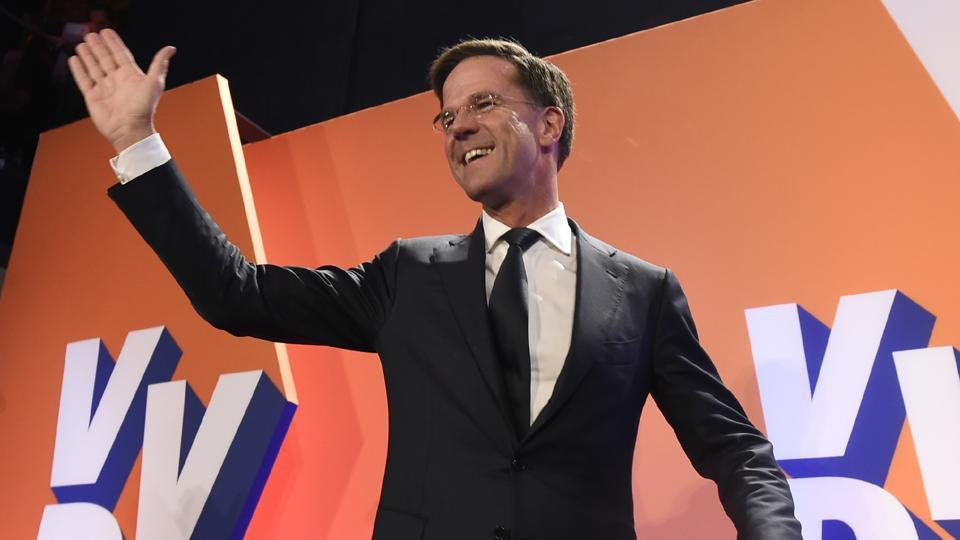 Netherlands' Prime Minister and VVD party leader Mark Rutte celebrates after winning the general elections in The Hague.