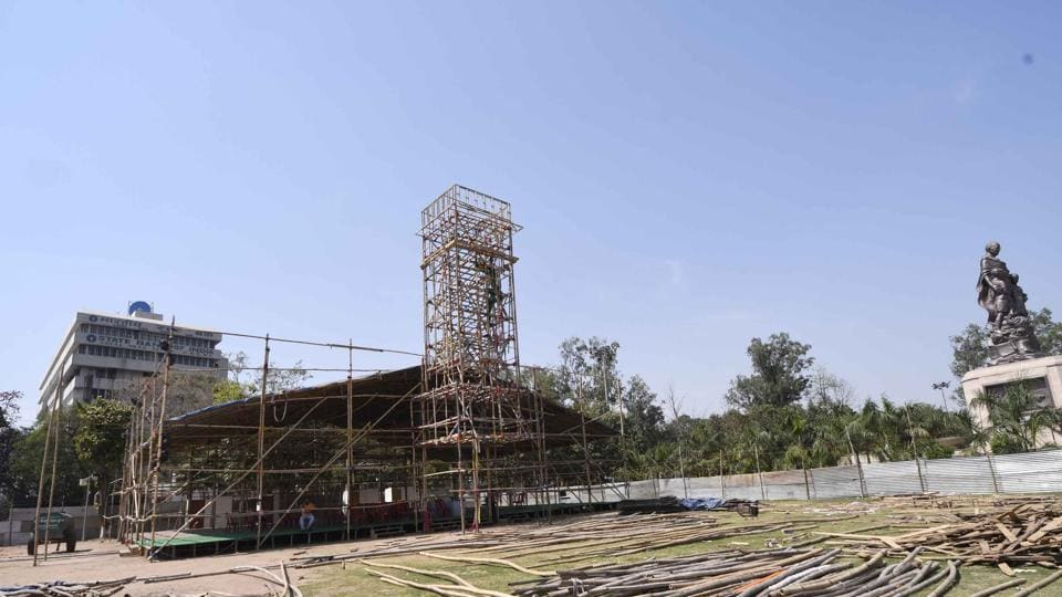 Preparations afoot for Bihar Diwas at Gandhi Maidan in Patna.