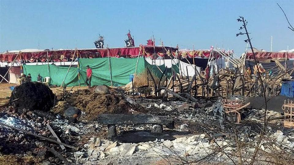 The sets of director Sanjay Leela Bhansali film's film Padmavati which were attacked and set on fire at Masai plateau in Kolhapur, Maharashtra.