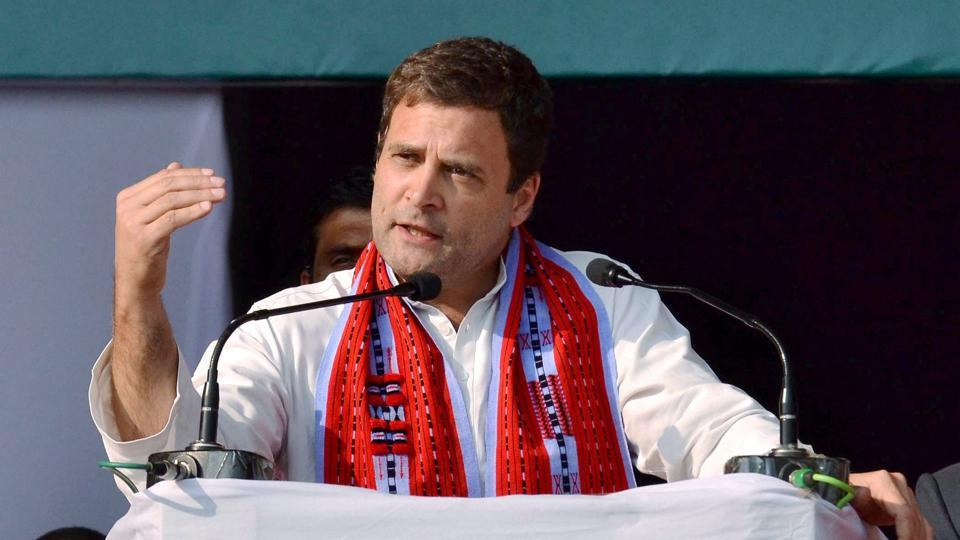 File photo of Congress vice-president Rahul Gandhi addressing an election campaign rally in Imphal.