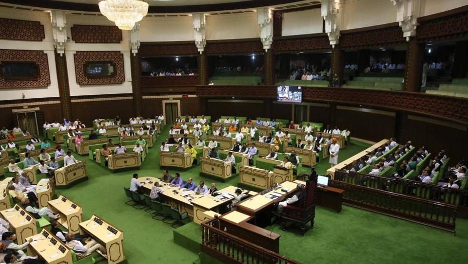 An image of the Rajasthan state assembly during the budget session on March 8.