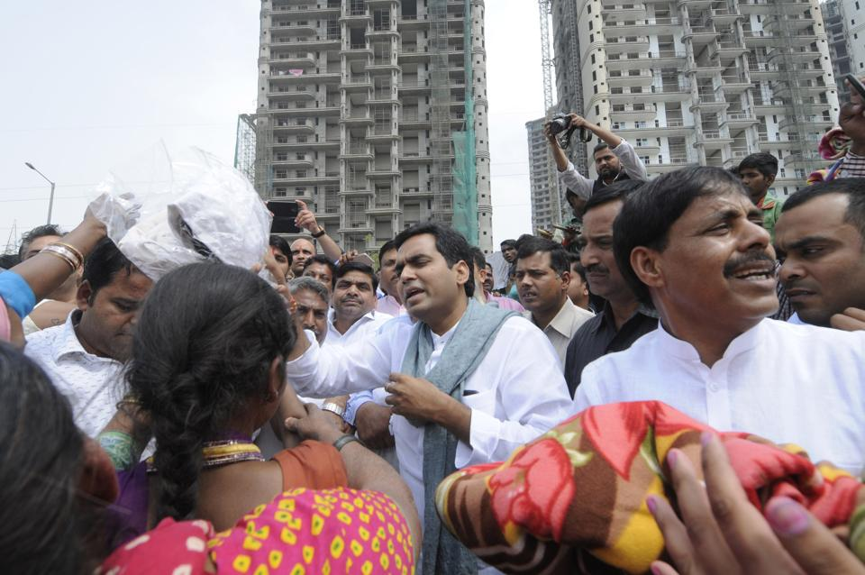 BJP MLA from Noida, Pankaj Singh visited sector 78  after the fire accident , in Noida.