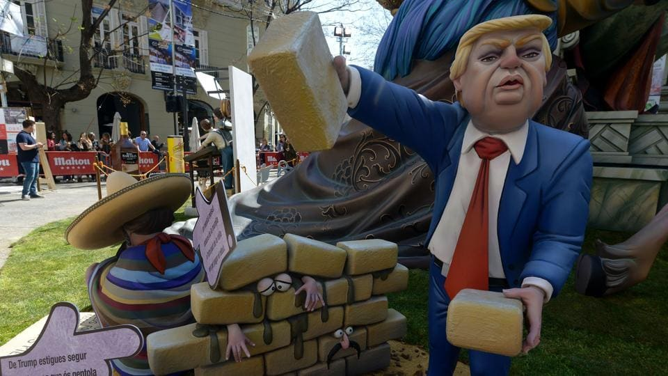 A ninot representing US President Donald Trump, is displayed during the Fallas Festival in Valencia on Thursday.