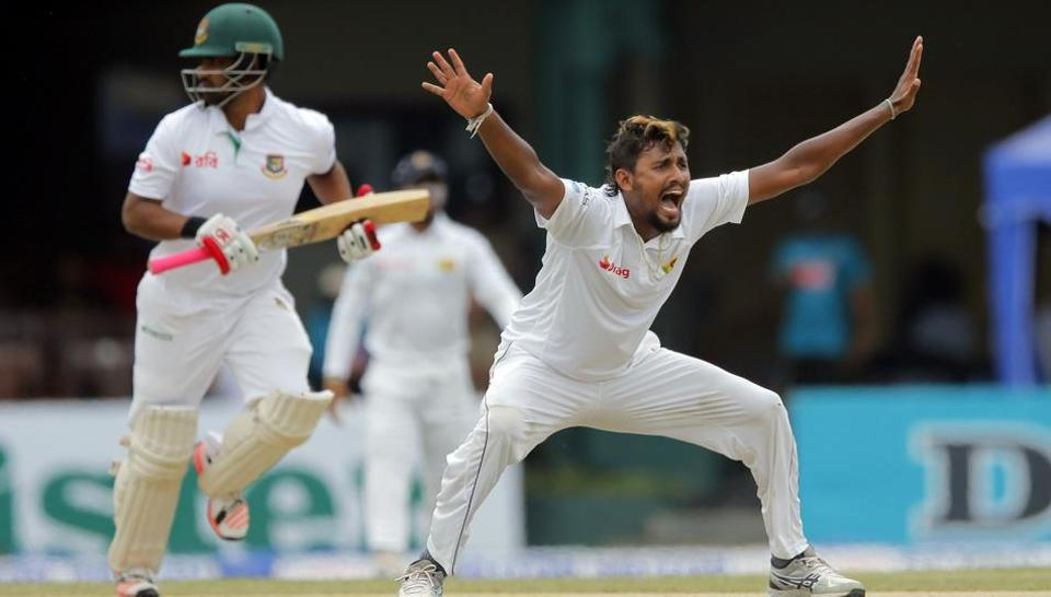 Sri Lanka's Suranga Lakmal unsuccessfully appeals for the wicket of Bangladesh batsman Tamim Iqbal on day two of the second Test in Colombo, Thursday. Bangladesh are playing their 100th Test.