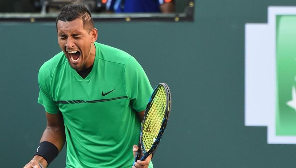 Nick Kyrgios reacts after defeating Novak Djokovic at the Indian Wells Masters.