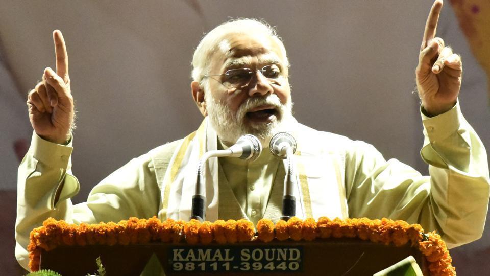 Prime Minister Narendra Modi speaks at the BJP headquarters in New Delhi.