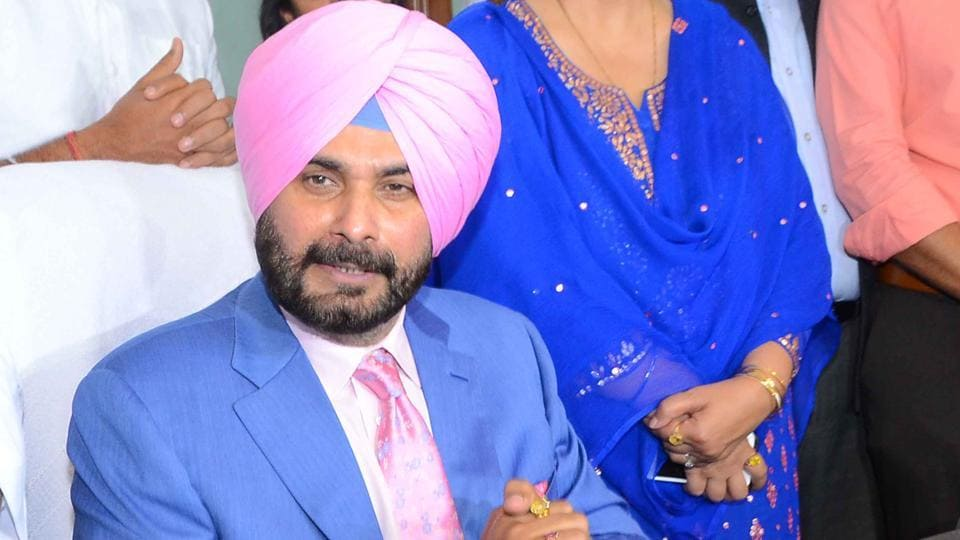 Navjot Singh Sidhu in his office after taking over as a minister in the Punjab government, in Chandigarh on Friday.