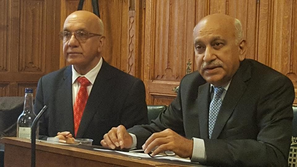 "Minister of state for external affairs MJ Akbar speaking on ""India in a Changing World"" at an event in the House of Lords, London, on March 16, 2017. On the left is Labour MP Virendra Sharma, chair of the All Party Parliamentary Group on India."
