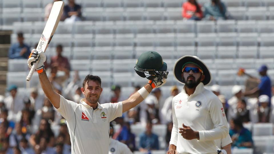 Glenn Maxwell of Australia celebrates after reaching his century against India in Ranchi. (BCCI)