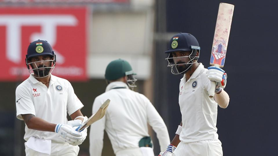 KL Rahul (right) and Murali Vijay shared a 91-run stand on Day 2 of the third Test between India and Australia in Ranchi.