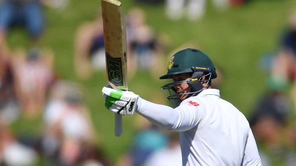 South Africa's Quinton de Kock celebrates 50 runs during day two of the second Test between New Zealand and South Africa at the Basin Reserve in Wellington on Friday.