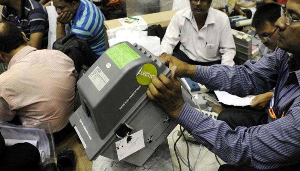 Election Commission of India showing the Voter Verifiable Paper Audit Trail (VVPAT) machine in Kolkata on April 20, 2016.