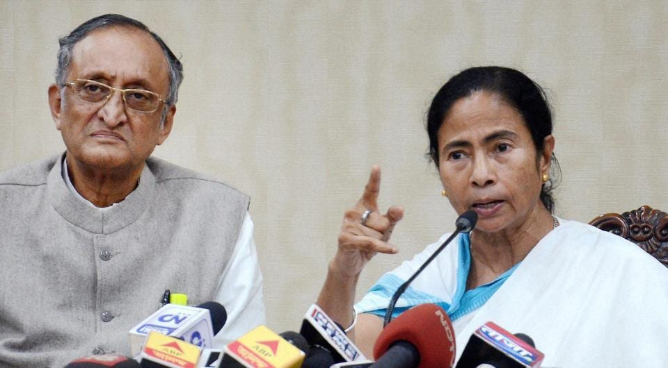 West Bengal chief minister Mamata Banerjee, seen with state finance minister Amit Mitra, addresses the media at her office Nabanna on Friday.