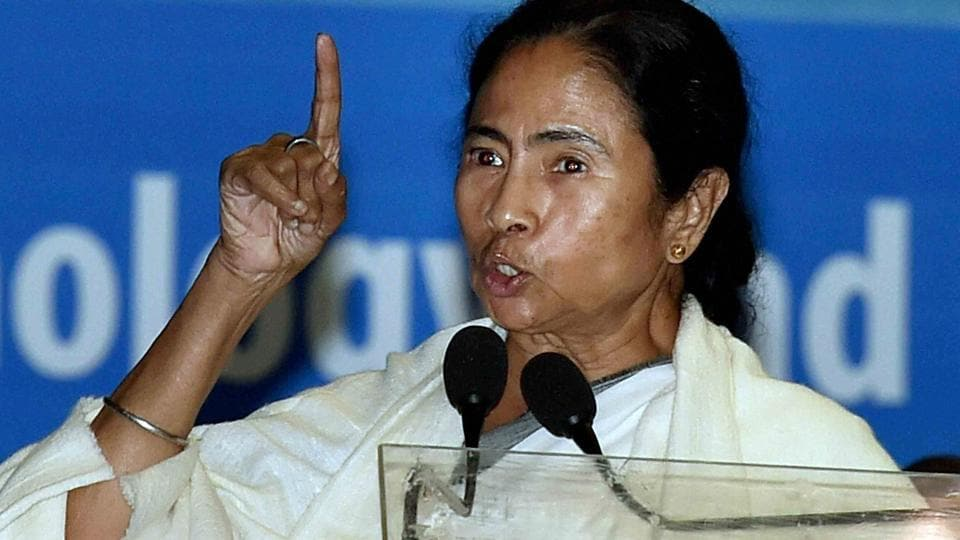 West Bengal Chief Minister Mamata Banerjee speaks at an event in Kolkata.